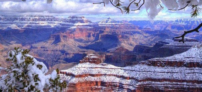 View of Grand Canyon with Snow